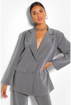 Grey Pinstripe Oversized Dad Blazer