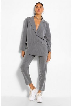 Grey Pinstripe Relaxed Trouser