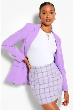 Lilac A-Line Check Mini Skirt