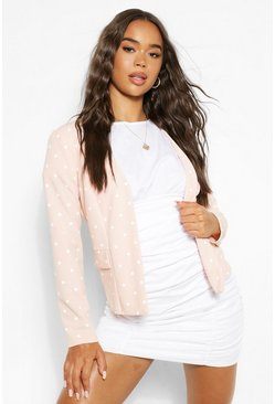 White Polka Dot Collarless Blazer
