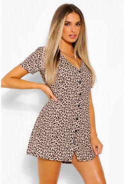 Brown Leopard Print Button Shift Dress