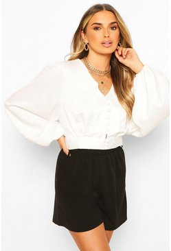Ivory Button Through Tie Blouse