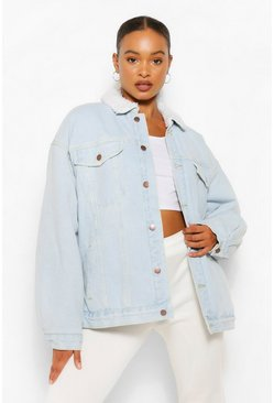 Light blue blue Denim Borg Oversized Pocket Denim Jacket