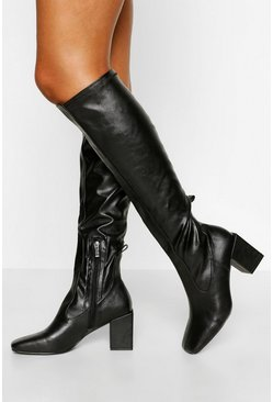 Black Stretch Block Heel Knee Boot