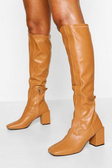 Camel beige Stretch Block Heel Knee Boot
