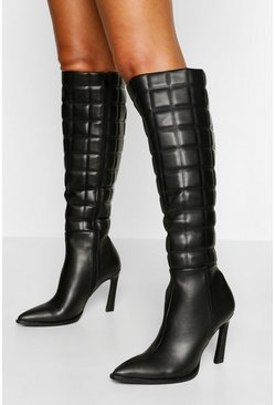 Black Quilted Stiletto Knee Boot