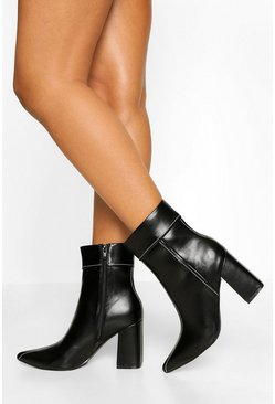 Black Contrast Stitch Detail Block Heel Shoe Boot