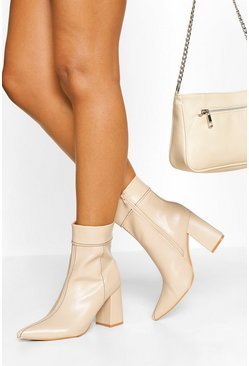 Cream white Contrast Stitch Detail Block Heel Shoe Boot