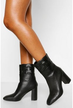 Black Woven Cuff Block Heel Shoe Boot