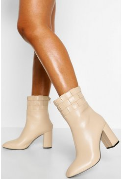 Cream white Woven Cuff Block Heel Shoe Boot