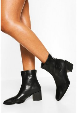Black Low Block Heel Square Toe Sock Boot