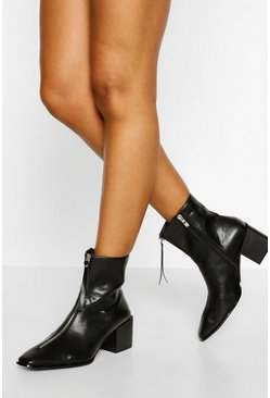 Black Low Block Heel Zip Front Shoe Boot