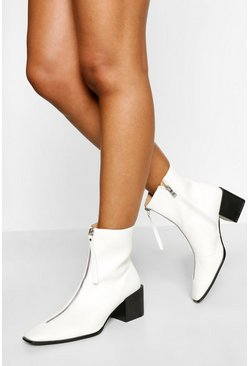 White Low Block Heel Zip Front Sock Boot