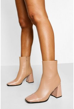 Beige Block Heel Square Toe Sock Boot