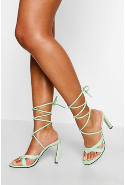 Sage green Strappy Wrap Up Stiletto Heels