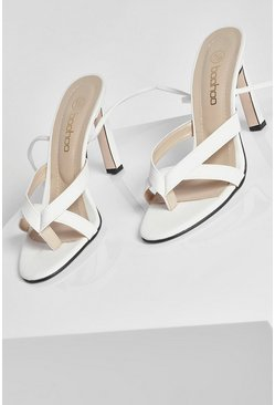 White Strappy Wrap Up Stiletto Heels
