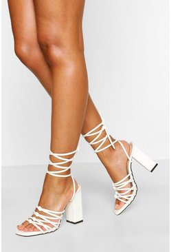 White Super Strappy Wrap Up Block Heels