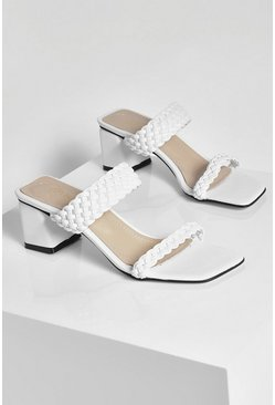 White Woven Strap Low Block Heel Mules