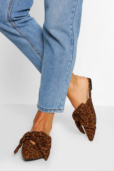 Leopard multi Bow Detail Flat Mules