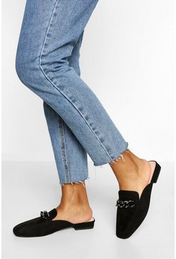 Black Embellished Chain Detail Mule Loafer