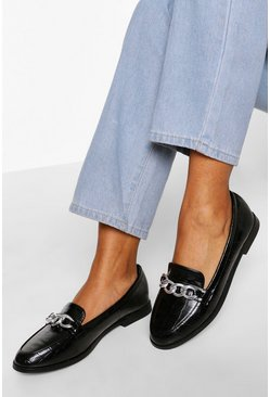 Black Croc Chain Detail Loafers