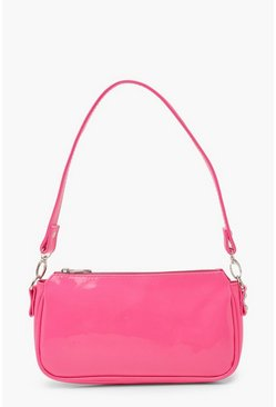 Hot pink pink Patent Shoulder Bag
