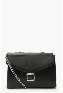 Black PU Buckle Detail Cross Body Bag