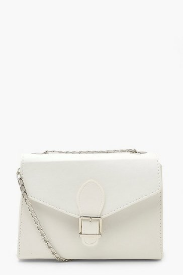 White PU Buckle Detail Cross Body Bag