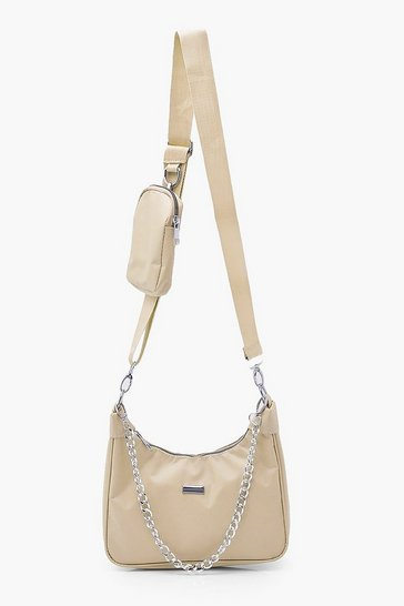 Nude Nylon Multi Way Cross Body With Mini Bag