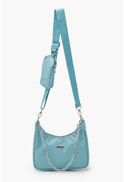 Baby blue blue Nylon Multi Way Cross Body With Mini Bag