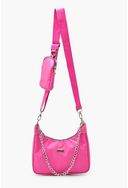 Hot pink Nylon Multi Way Cross Body With Mini Bag