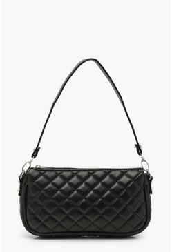 Black Diamond Quilted PU Under Arm Bag