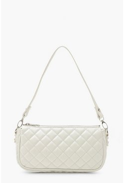White Diamond Quilted PU Under Arm Bag