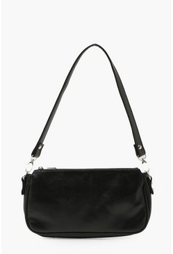 Black Smooth PU Under Arm Bag
