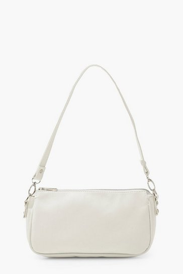 White Smooth PU Under Arm Bag