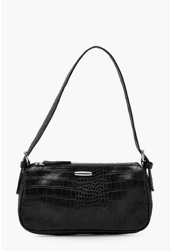 Black Croc PU Tab Detail Under Arm Bag