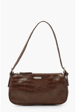 Tan brown Croc PU Tab Detail Under Arm Bag