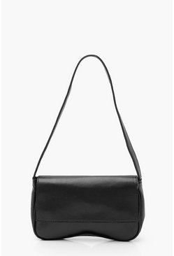 Black PU Foldover Under Arm Bag
