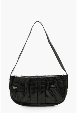 Black Croc Ruched PU Under Arm Bag