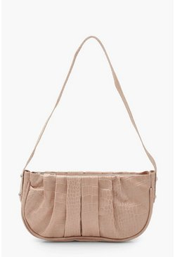 Nude Croc Ruched PU Under Arm Bag