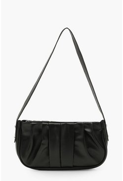 Black Ruched PU Under Arm Bag