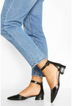 Black Block Heel Pointed Ballet Pumps