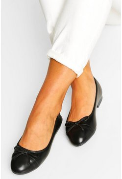 Black Toe Cap Basic Ballet Pumps
