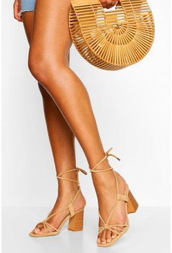 Beige Wrap Up Strap Block Heel Sandals