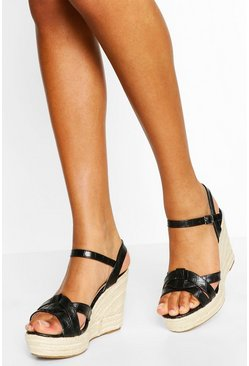Black Asymmetric Stap Espadrille Wedges