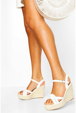 White Asymmetric Stap Espadrille Wedges