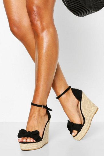 Black Bow Detail Espadrille Wedges