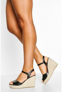 Black Peeptoe Espadrille Wedges