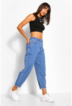 Mid blue blue Curved Seam Mom Jean