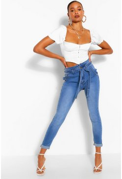 Mid blue blue High Waisted Belt Skinny Jean